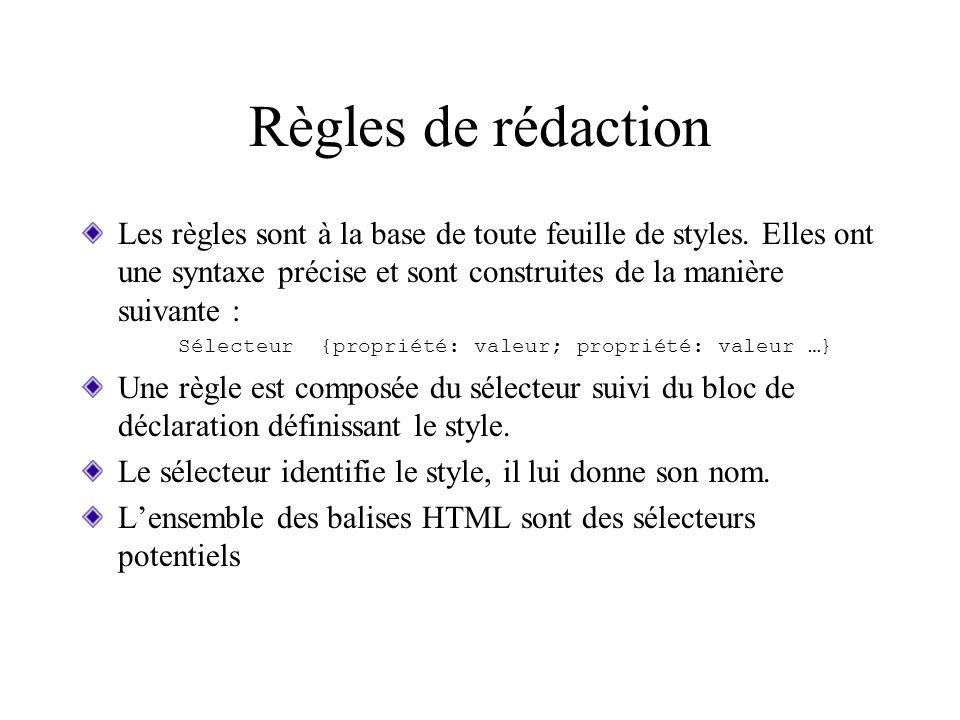 Règles de rédaction Les règles sont à la base de toute feuille de styles. Elles ont une syntaxe précise et sont construites de la manière suivante :