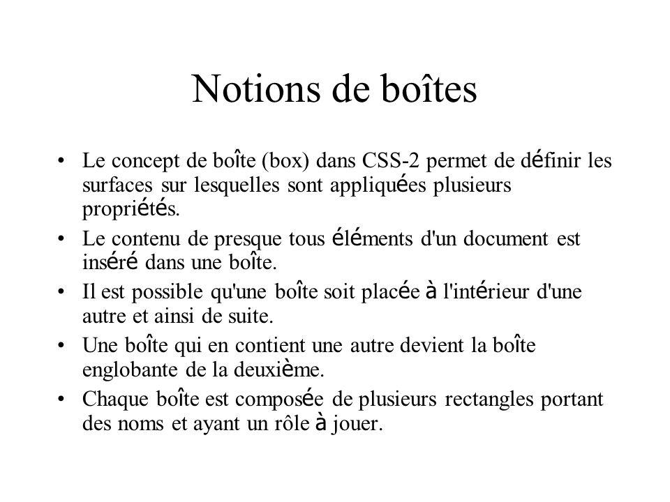 Notions de boîtes Le concept de boîte (box) dans CSS-2 permet de définir les surfaces sur lesquelles sont appliquées plusieurs propriétés.