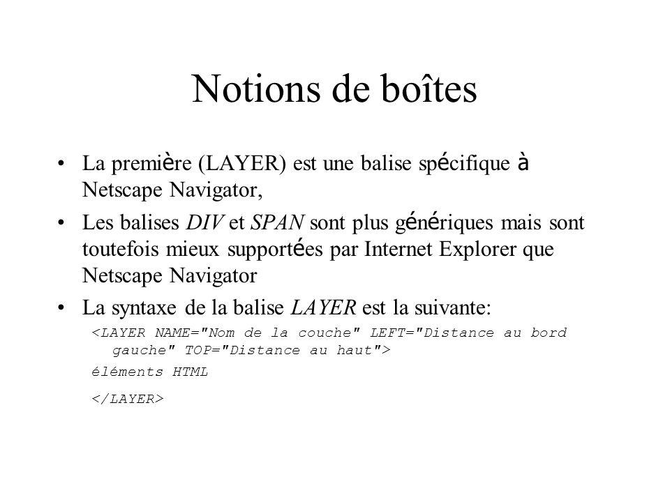 Notions de boîtes La première (LAYER) est une balise spécifique à Netscape Navigator,