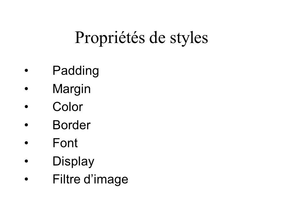 Propriétés de styles Padding Margin Color Border Font Display