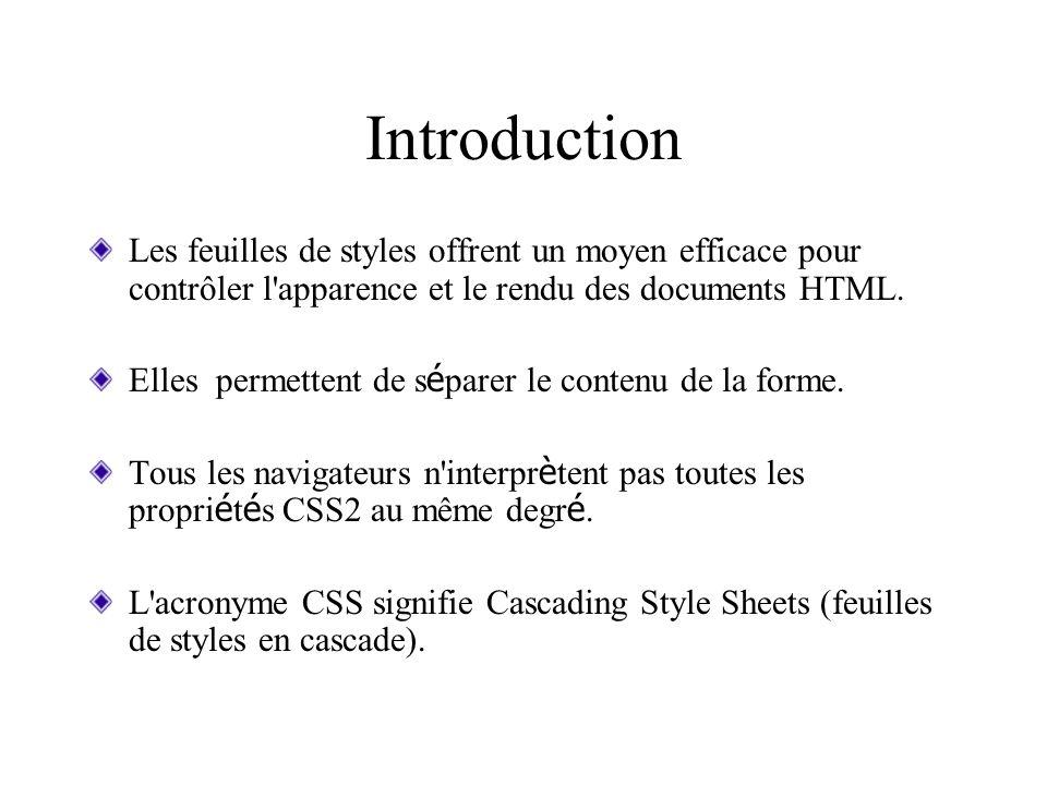Introduction Les feuilles de styles offrent un moyen efficace pour contrôler l apparence et le rendu des documents HTML.