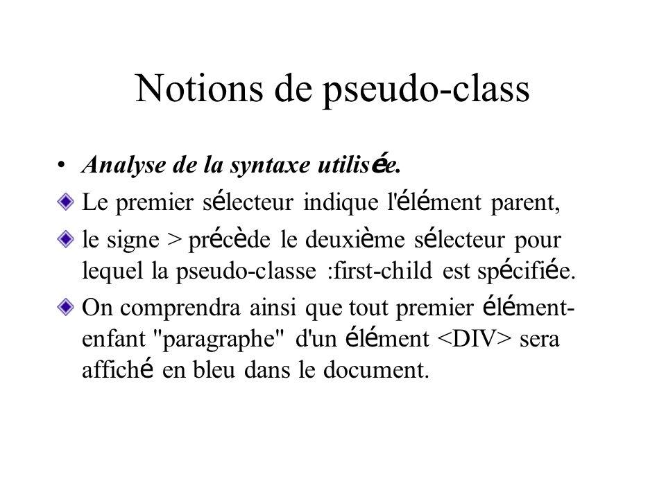 Notions de pseudo-class