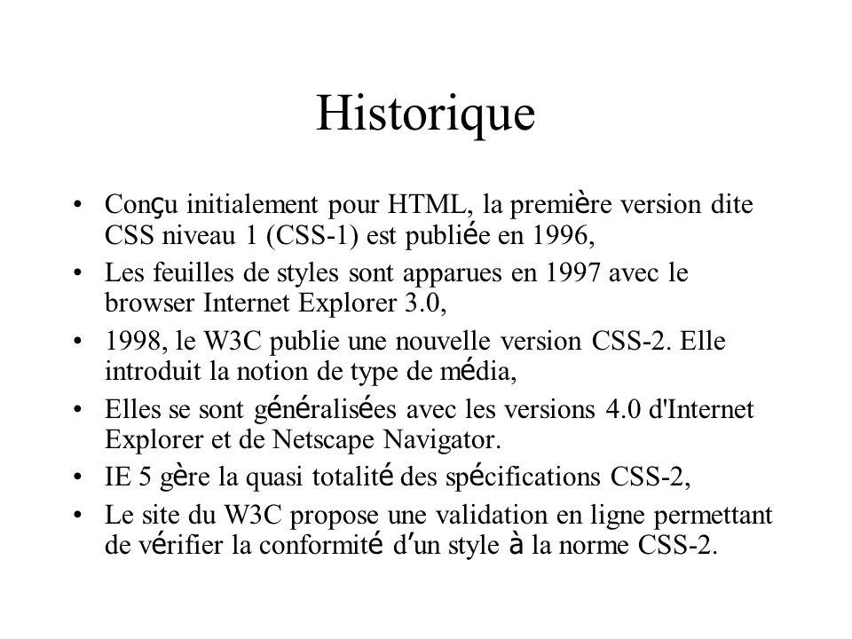 Historique Conçu initialement pour HTML, la première version dite CSS niveau 1 (CSS-1) est publiée en 1996,