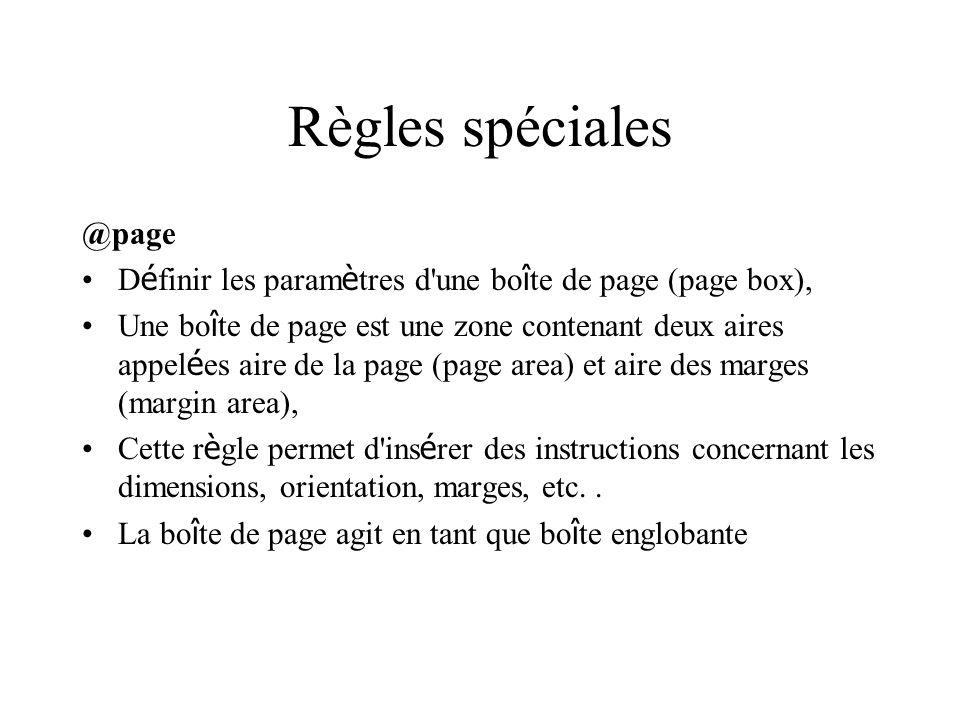 Règles spéciales @page