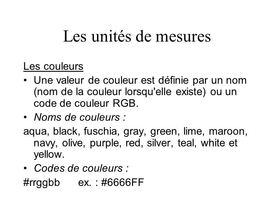 Les unités de mesures Les couleurs