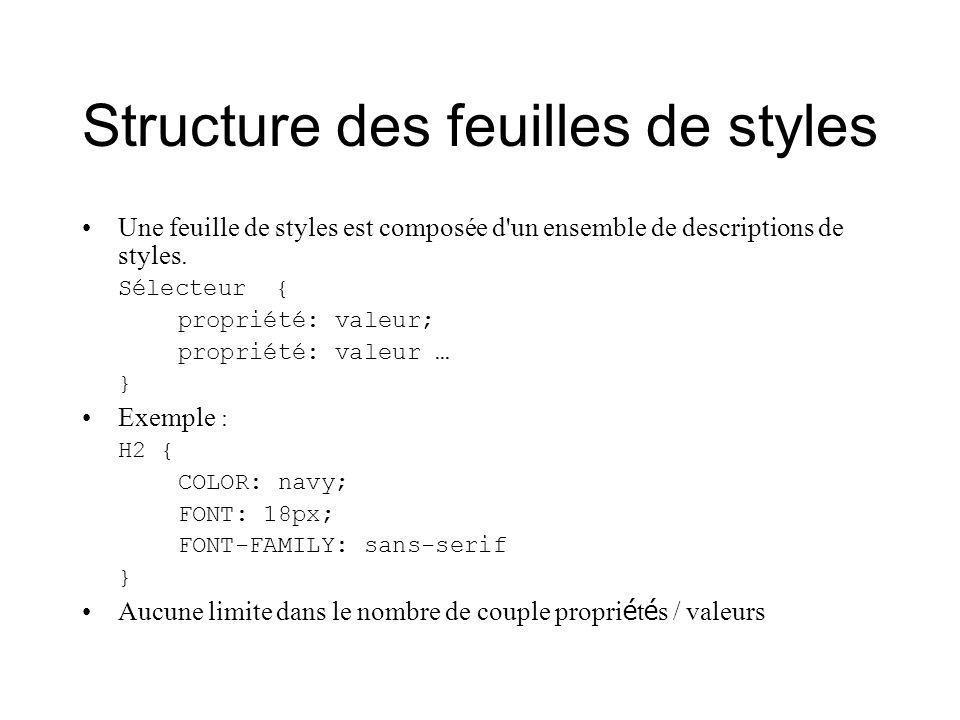 Structure des feuilles de styles
