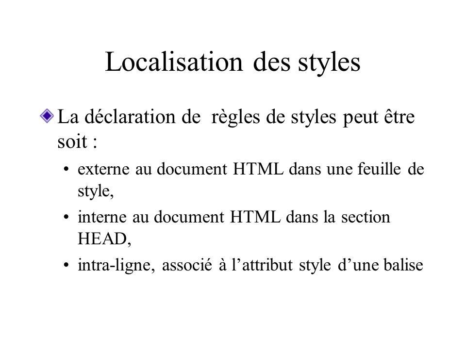 Localisation des styles