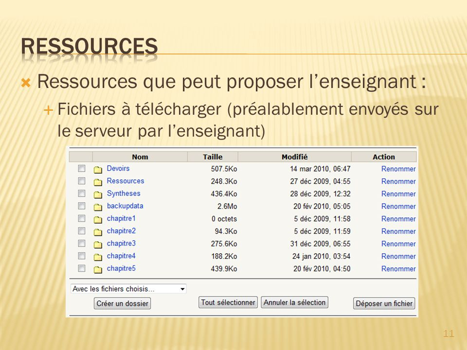 RESSOURCES Ressources que peut proposer l'enseignant :