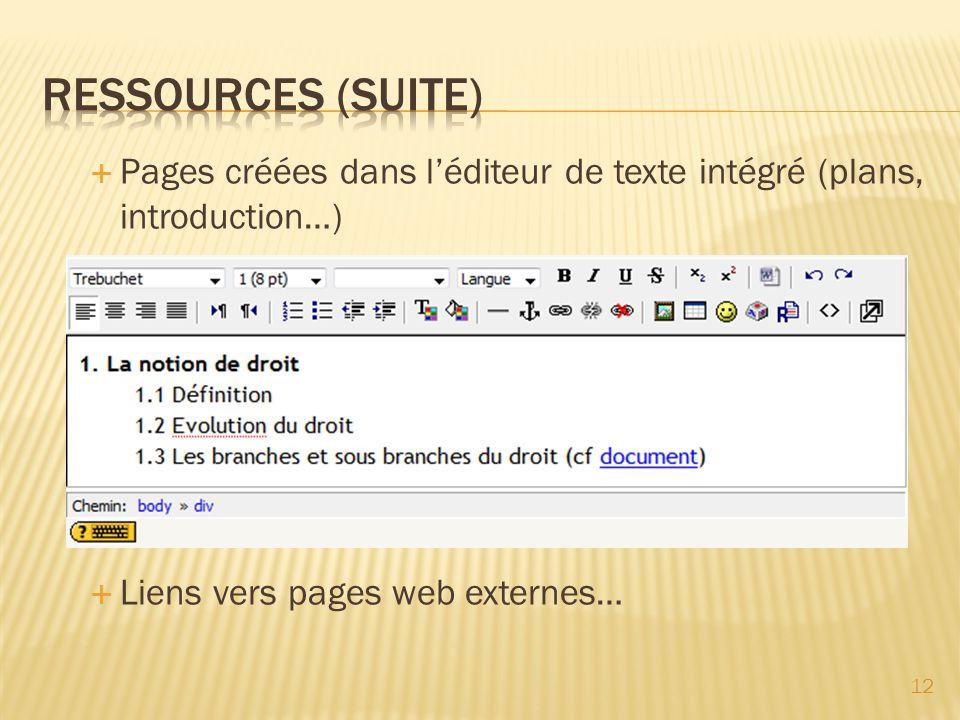 RESSOURCES (suite) Pages créées dans l'éditeur de texte intégré (plans, introduction…) Liens vers pages web externes…
