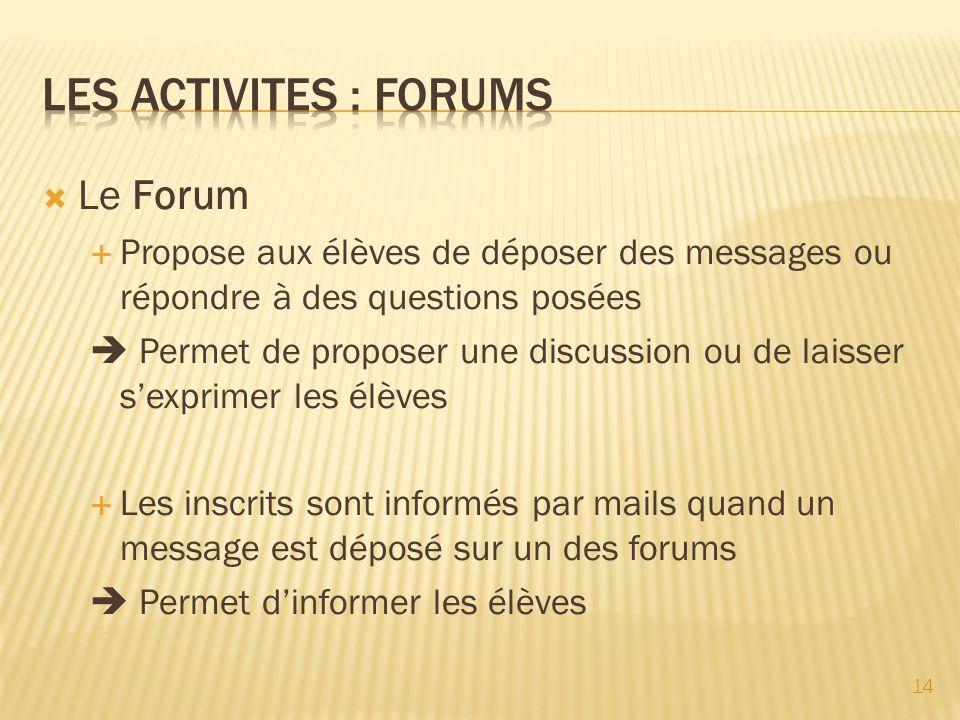 Les activites : forumS Le Forum