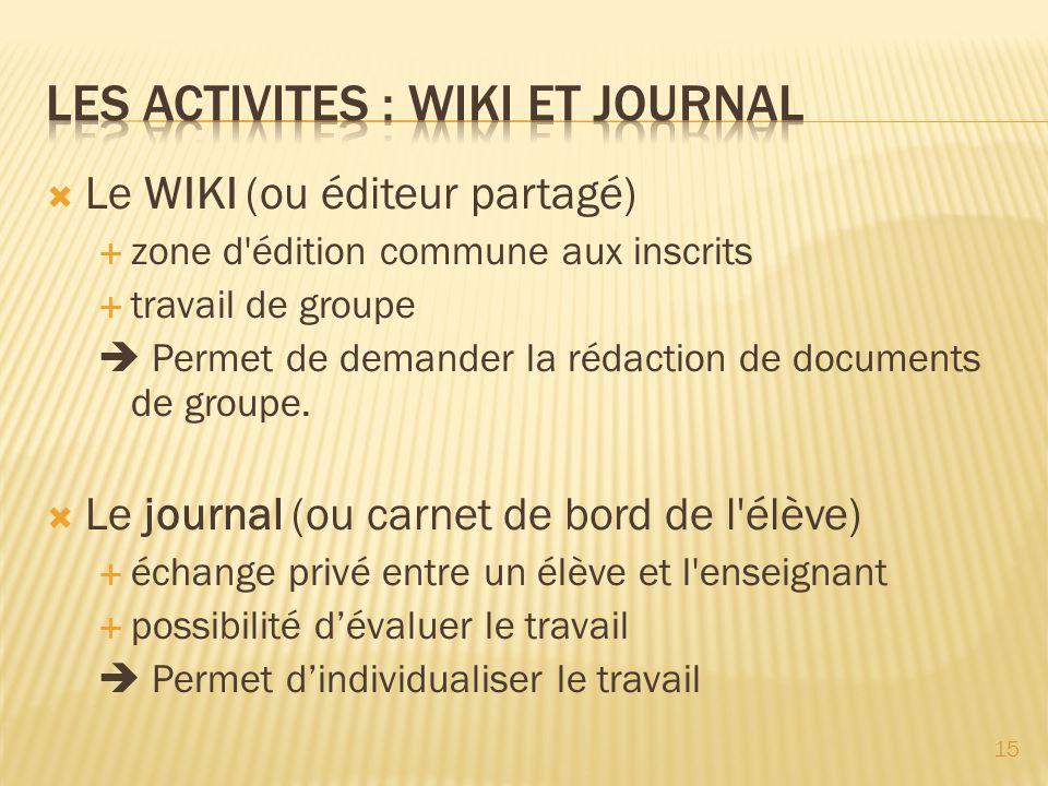Les activites : WIKI et journal