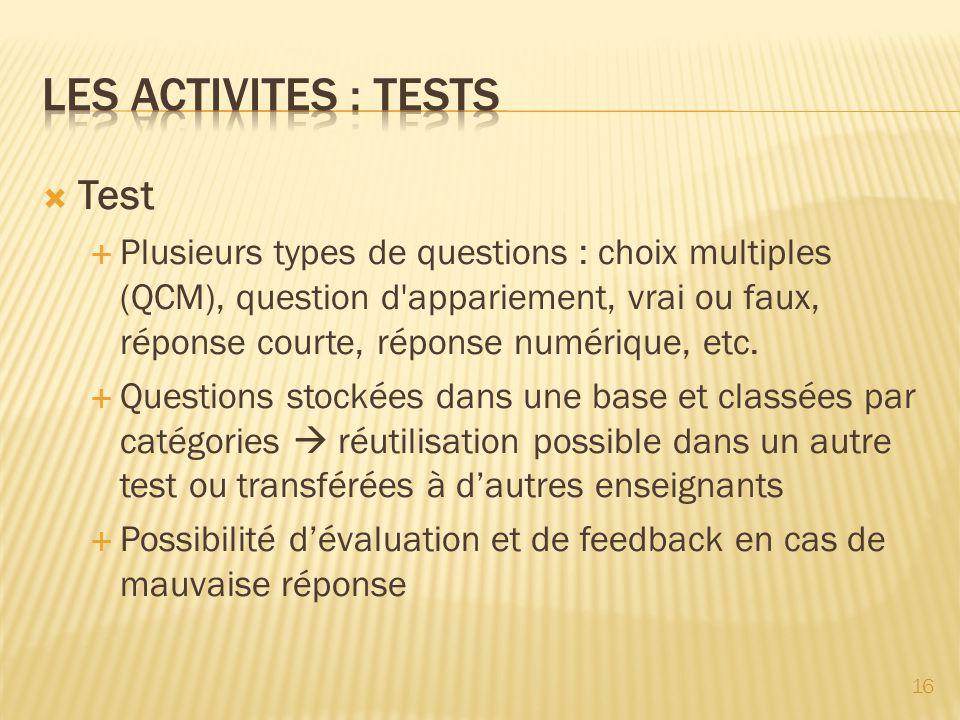 Les activites : testS Test