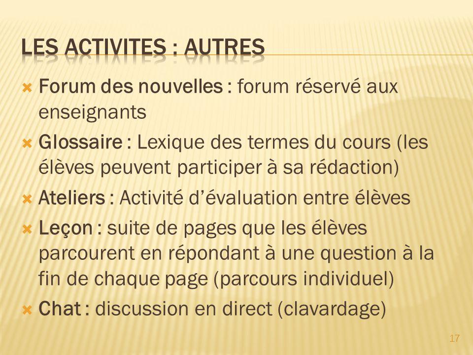 Les activites : autres Forum des nouvelles : forum réservé aux enseignants.