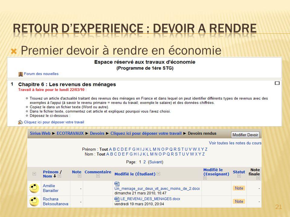 RETOUR D'EXPERIENCE : DEVOIR A RENDRE
