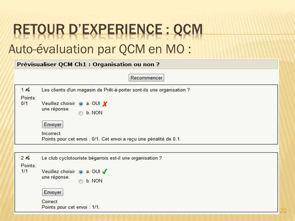 RETOUR D'EXPERIENCE : QCM
