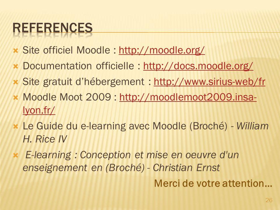 REFERENCES Site officiel Moodle : http://moodle.org/