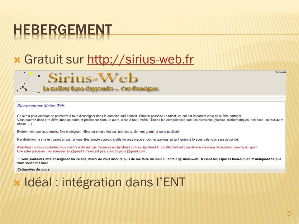 HEBERGEMENT Gratuit sur http://sirius-web.fr