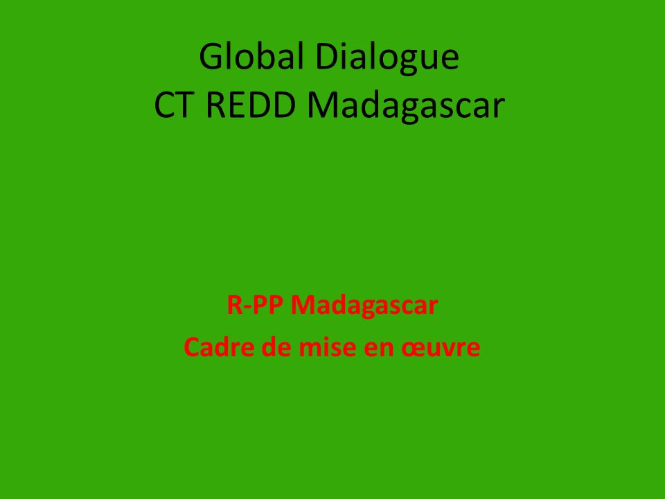 Global Dialogue CT REDD Madagascar
