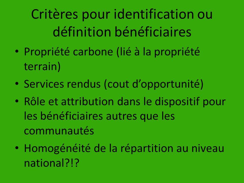Critères pour identification ou définition bénéficiaires
