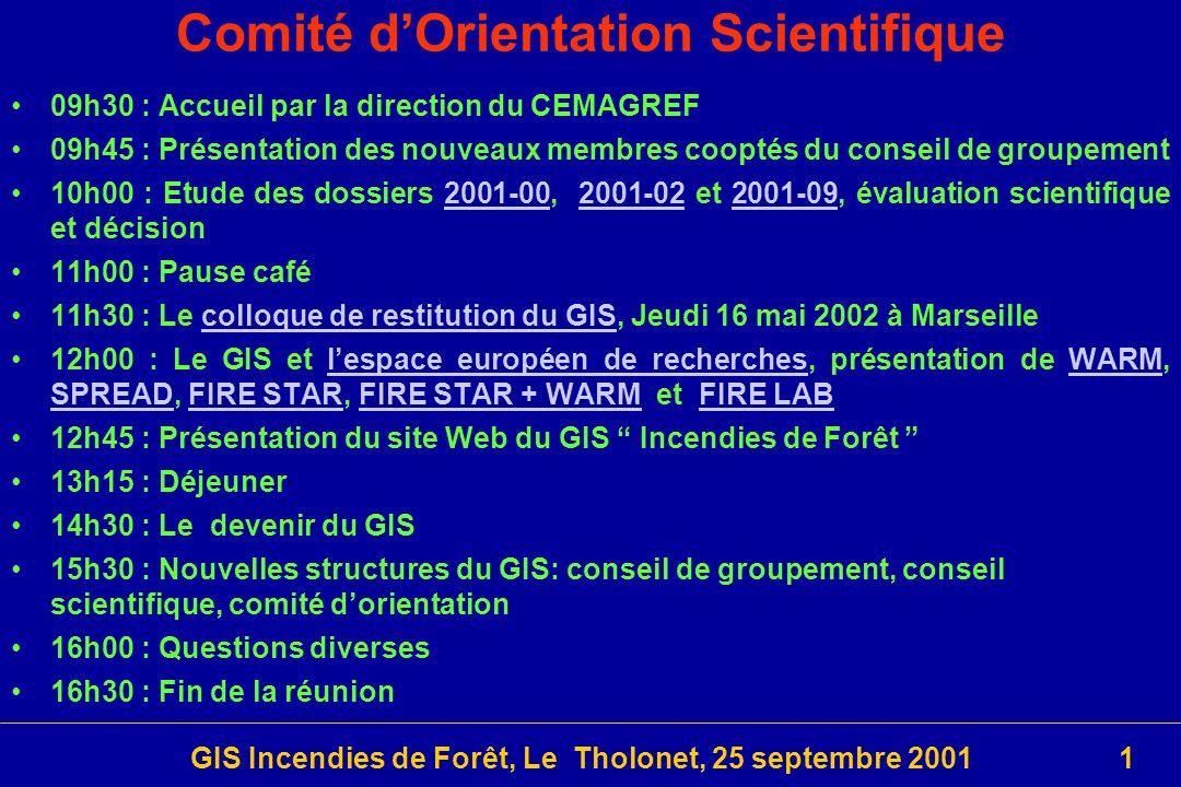 Comité d'Orientation Scientifique