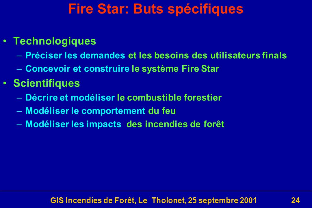 Fire Star: Buts spécifiques