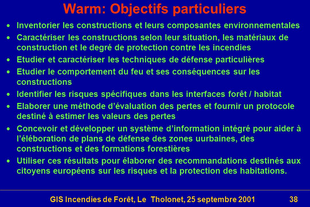 Warm: Objectifs particuliers