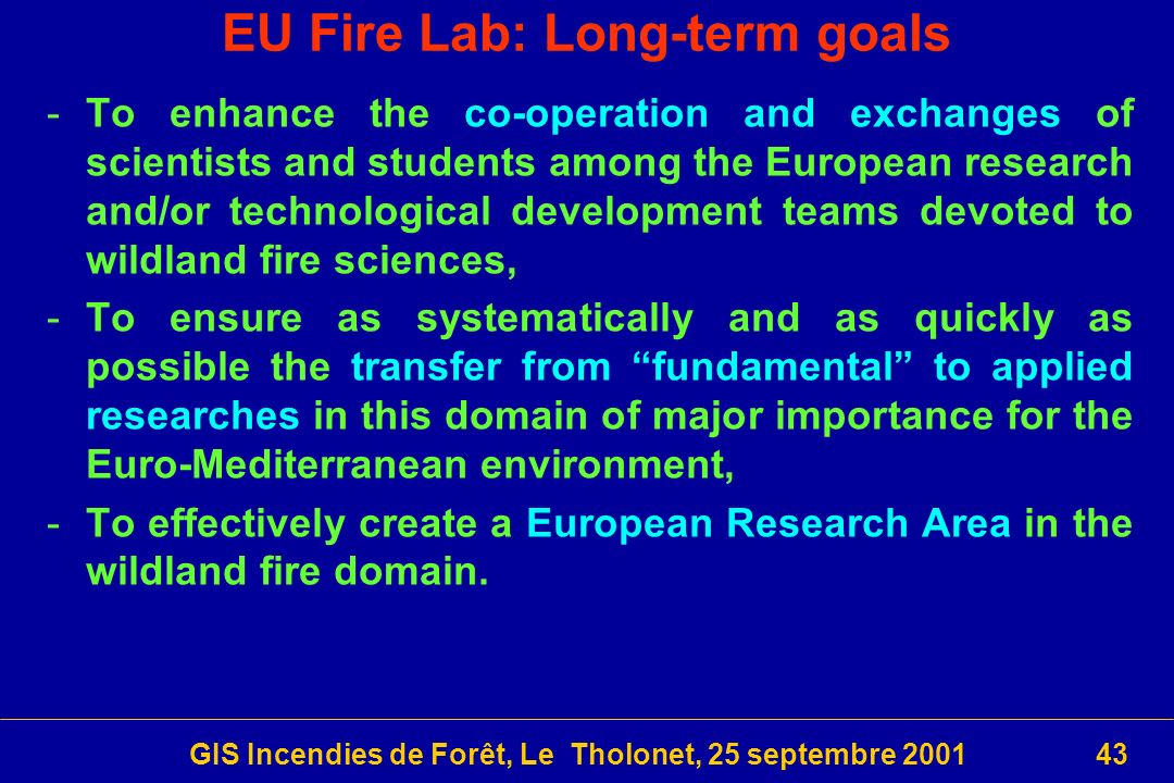 EU Fire Lab: Long-term goals