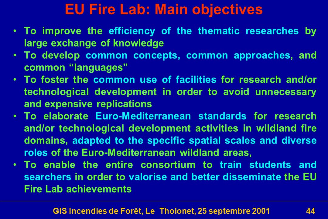 EU Fire Lab: Main objectives