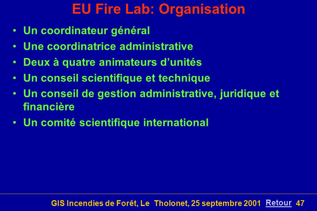 EU Fire Lab: Organisation