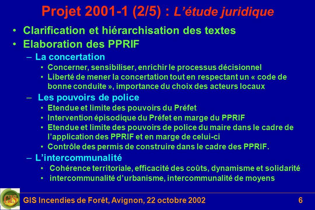 Projet 2001-1 (2/5) : L'étude juridique