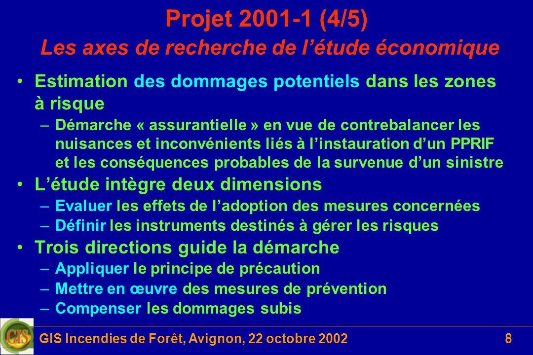 Projet 2001-1 (4/5) Les axes de recherche de l'étude économique