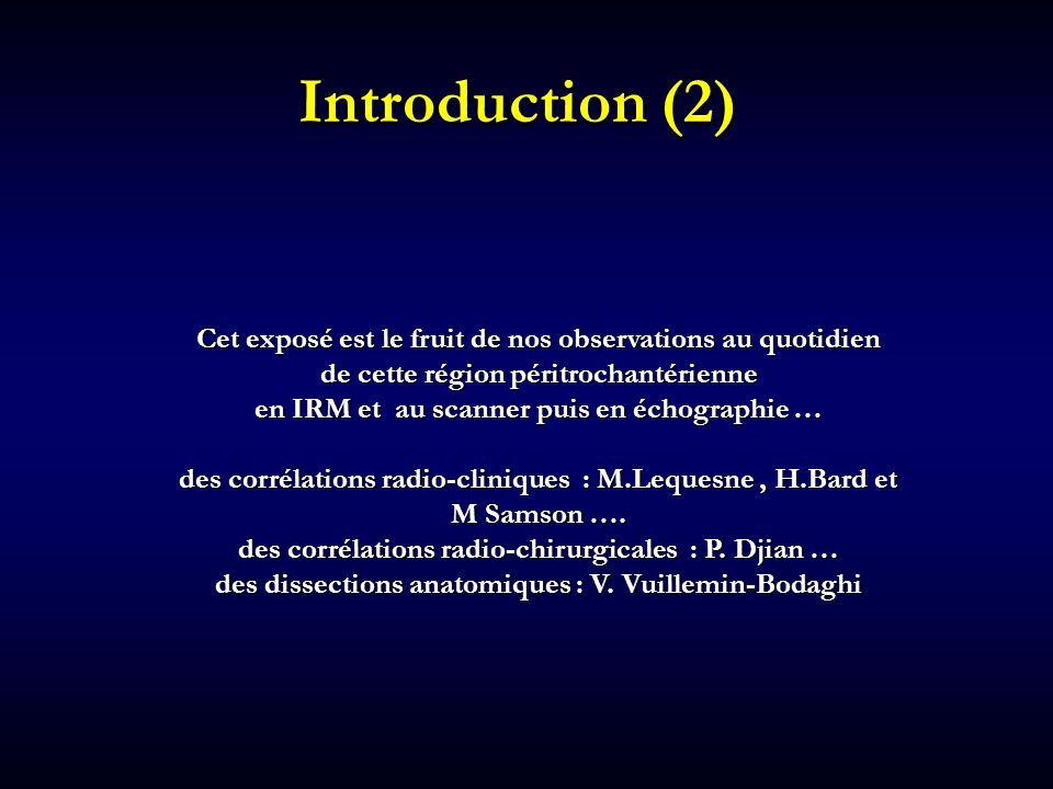 Introduction (2) Cet exposé est le fruit de nos observations au quotidien. de cette région péritrochantérienne.