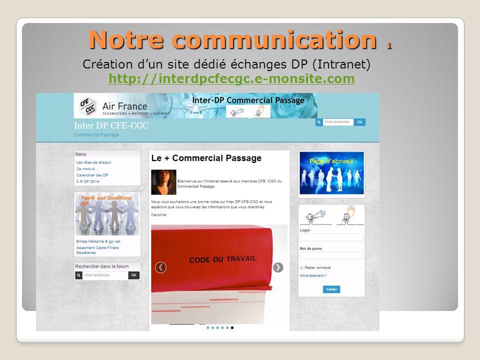 Notre communication 1 Création d'un site dédié échanges DP (Intranet)