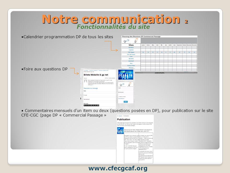 Notre communication 2 Fonctionnalités du site www.cfecgcaf.org