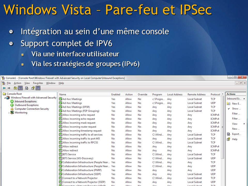 Windows Vista – Pare-feu et IPSec