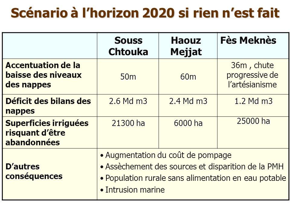 Scénario à l'horizon 2020 si rien n'est fait