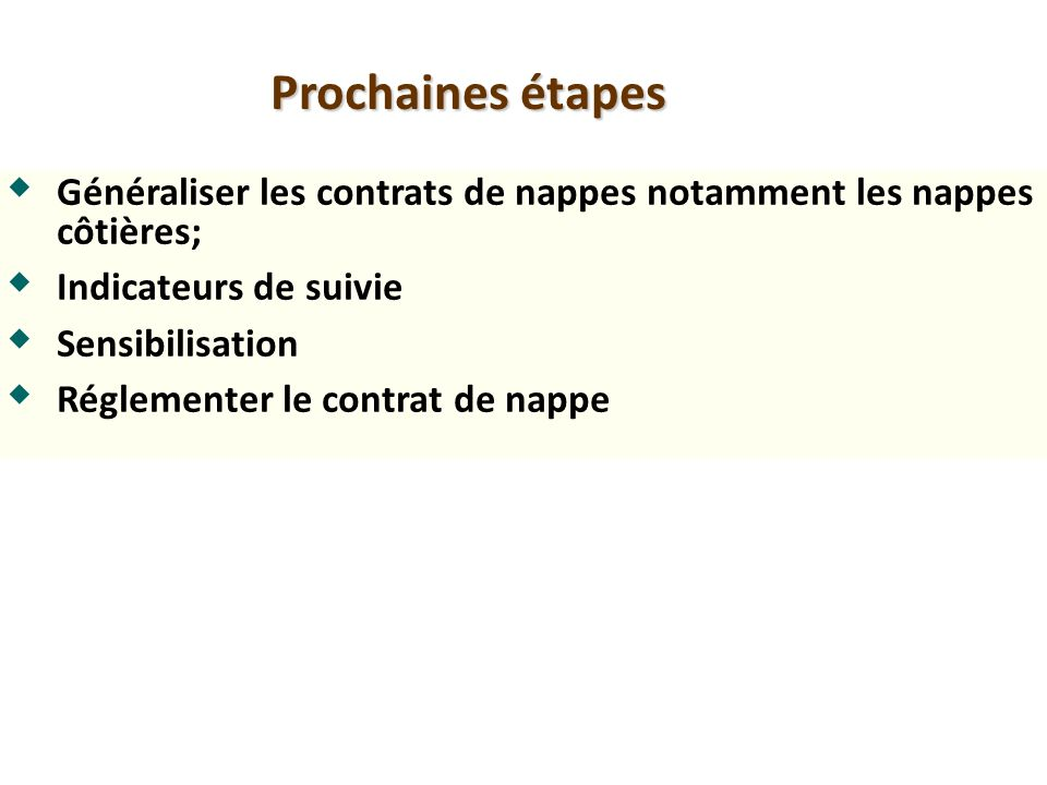 Prochaines étapes Généraliser les contrats de nappes notamment les nappes côtières; Indicateurs de suivie.