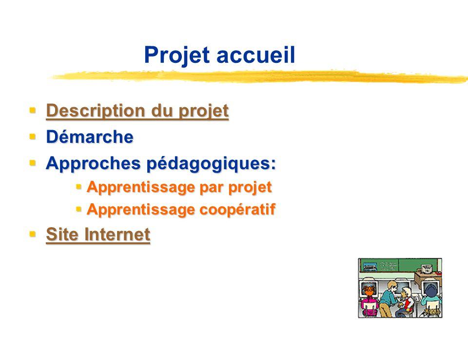 Projet accueil Description du projet Démarche Approches pédagogiques: