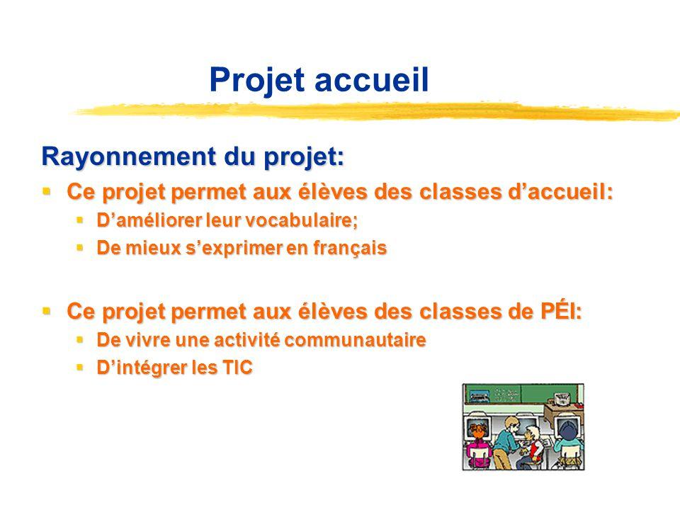 Projet accueil Rayonnement du projet: