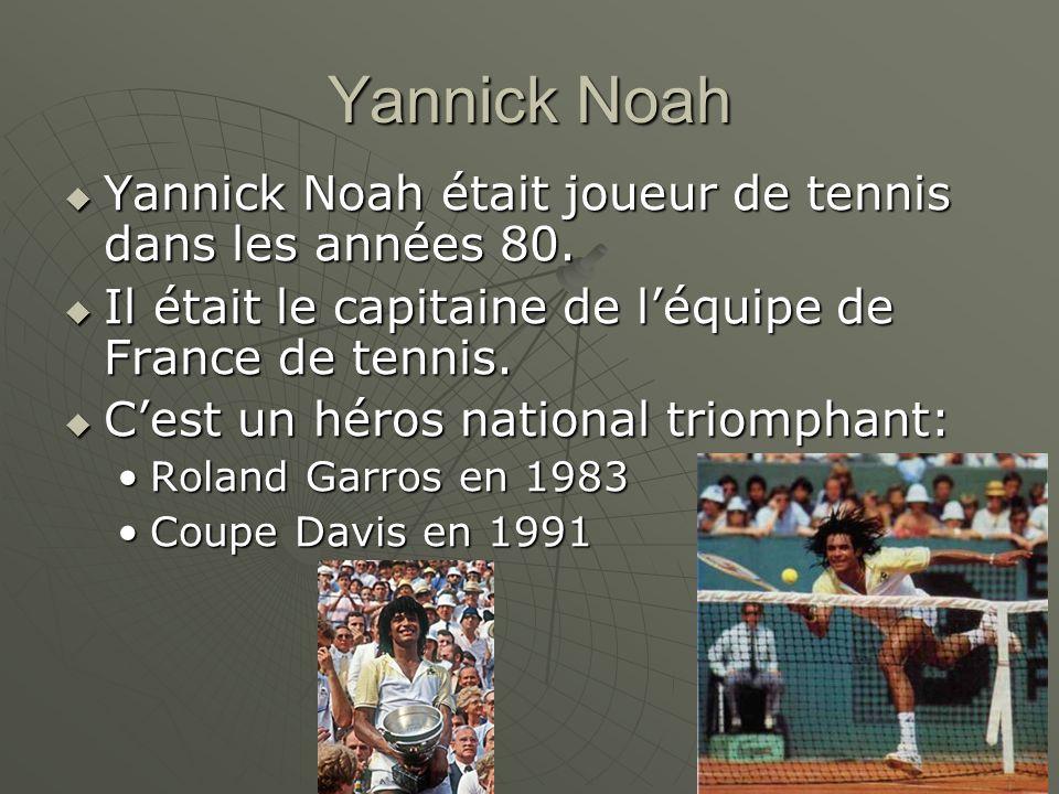 Yannick Noah Yannick Noah était joueur de tennis dans les années 80.