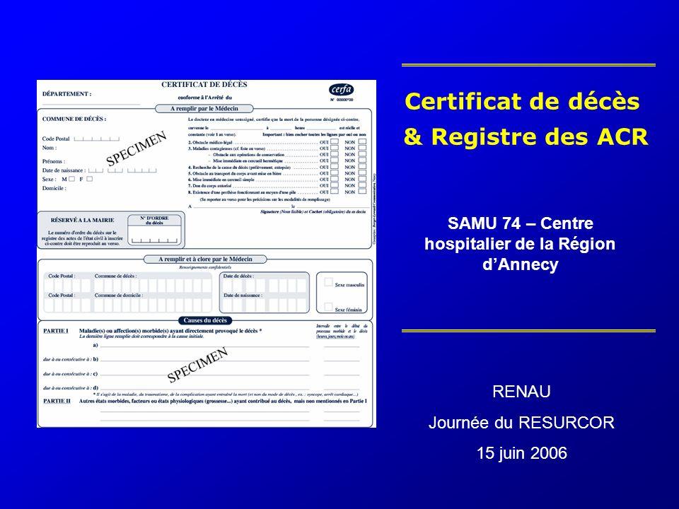 Certificat de décès & Registre des ACR