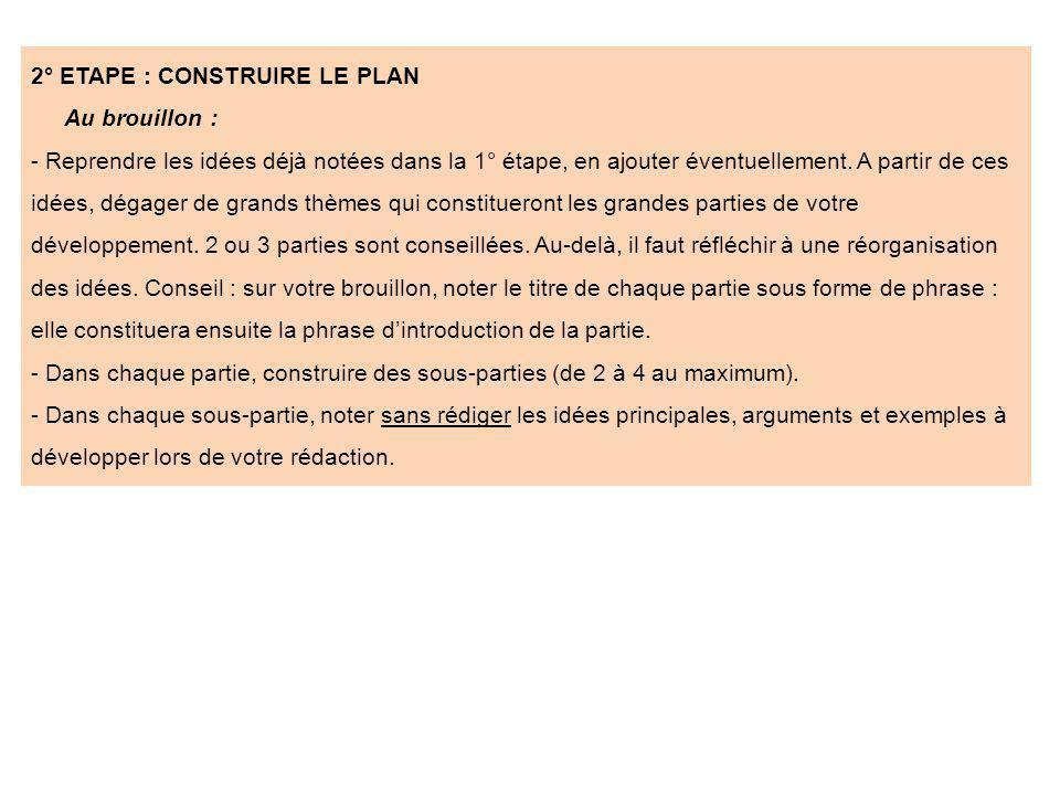 2° ETAPE : CONSTRUIRE LE PLAN