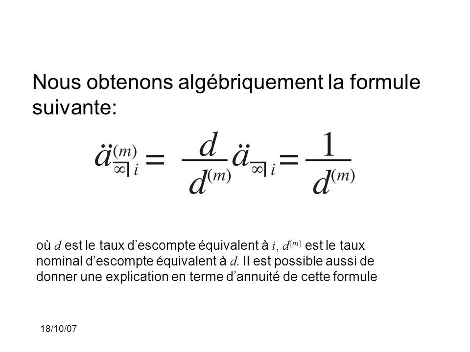 Nous obtenons algébriquement la formule suivante: