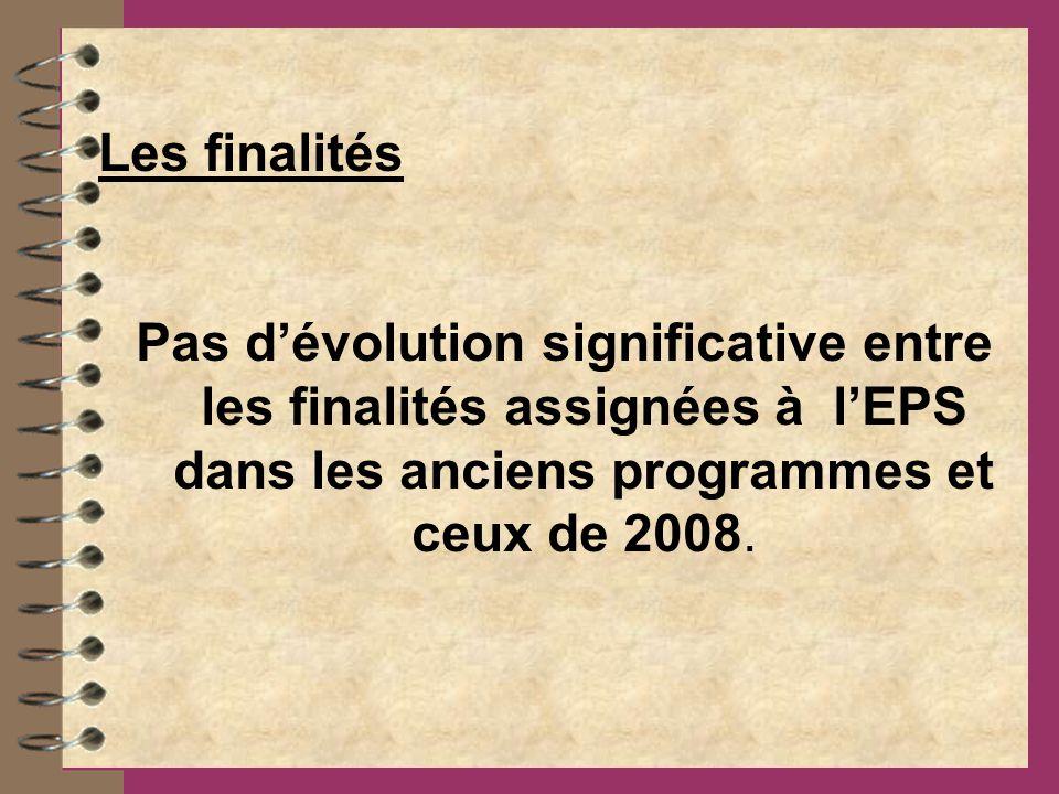 Les finalités Pas d'évolution significative entre les finalités assignées à l'EPS dans les anciens programmes et ceux de 2008.
