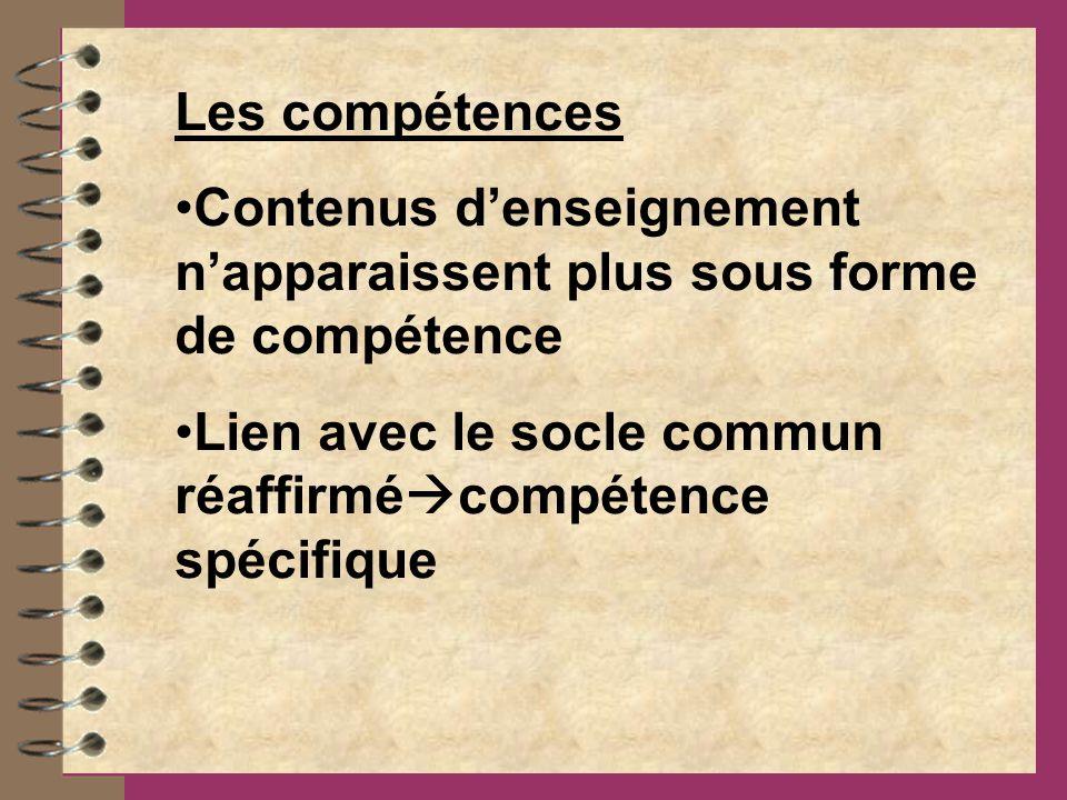 Les compétences Contenus d'enseignement n'apparaissent plus sous forme de compétence.