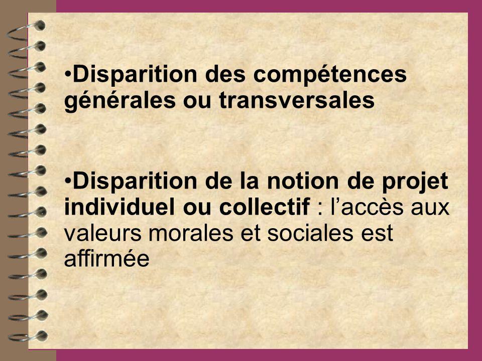 Disparition des compétences générales ou transversales