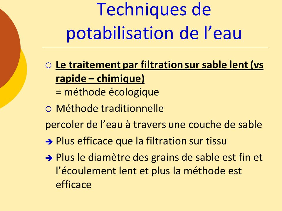 Techniques de potabilisation de l'eau