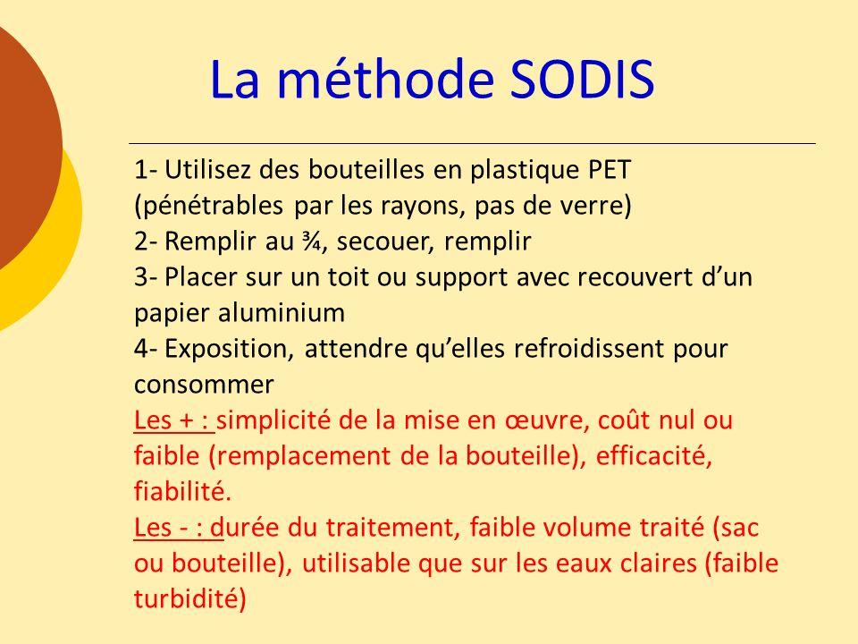 La méthode SODIS1- Utilisez des bouteilles en plastique PET (pénétrables par les rayons, pas de verre)