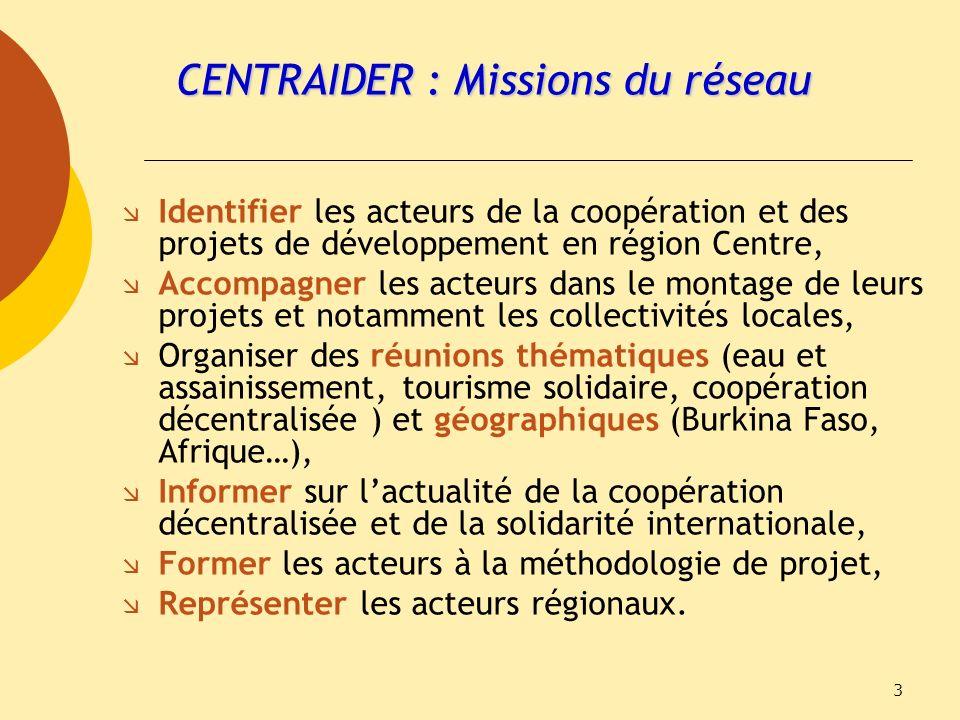 CENTRAIDER : Missions du réseau