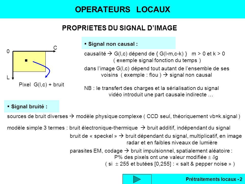 PROPRIETES DU SIGNAL D'IMAGE